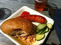 Sausage with pickles and fried onions at the Carlsberg brewery.