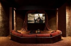 Home Theater Ideas - this one is warm and romantic.