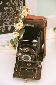Vintage camera  Handmade Floral Crowns
