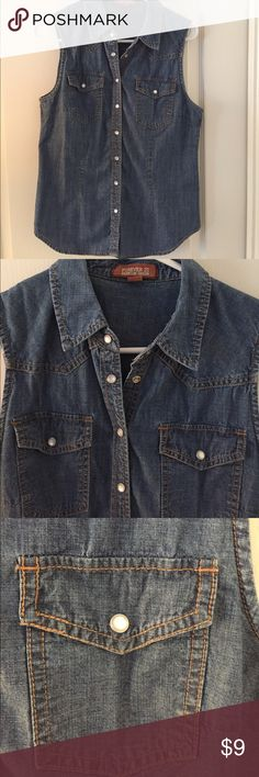 Sleeveless denim shirt with snaps! Great basic denim piece, snaps up with pretty iridescent buttons. Forever 21, size L. Great layering piece! Forever 21 Tops Button Down Shirts