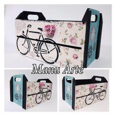Caixote decorado Bicicleta | Manu Arte Ateliê | Elo7