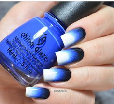 Black to blue to white ombre nails