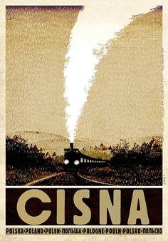 CISNA, Bieszczady, polski plakat turystyczny