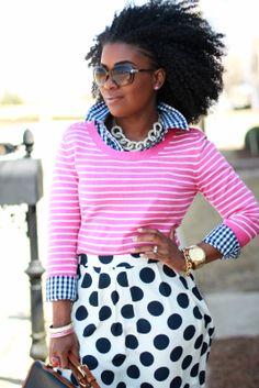 The Serena Saga - Pattern Mixing Outfit - Striped sweater, blue gingham shirt, polka dot skirt