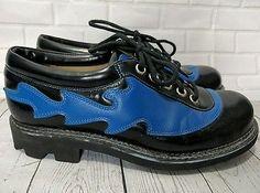 Mens John Fluevog Angels Seventh Heaven Black w/ Blue Flame Shoes 9.5 Leather