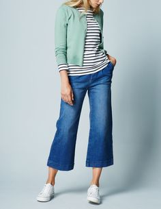 Breton striped tee, mint green cardigan, cropped jeans, & white sneakers - cute for spring!