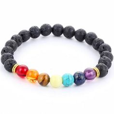 Muti Color Black Lava 7 Chakra Healing Bracelet