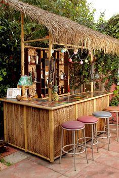 When we decided last summer that our backyard had been Tiki bar-less for far too long, we called upon our good buddy Dustin to construct us the thatch… - New Deko Sites Backyard Bar, Patio Bar, Pool Bar, Bar Pallet, Bars Tiki, Outdoor Tiki Bar, Outdoor Bars, Diy Außenbar, Tikki Bar