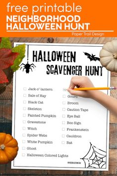 Use our free printable Halloween scavenger hunt for a fun family Halloween activity to get you out of the house. #papertraildesign #kidsHalloweenActivity #Halloweenactivityforkids #kidsscavengerhunt #familyactivity