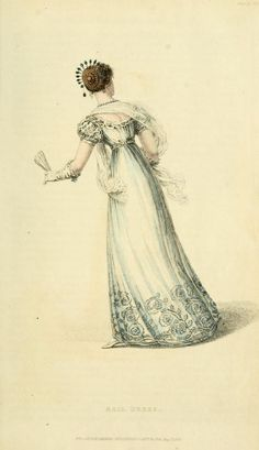1823 Ball Dress, headdress, and fan. From Ackerman's Repository. archive.org