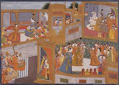 India, Himachal Pradesh, Guler  Marriage of Krishna and Rukmini, circa 1800  Painting; Watercolor, Opaque watercolor and gold on paper, Image: 13 1/2 x 19 in. (34.29 x 48.26 cm)  Gift of Dr. and Mrs. Joseph B. Koepfli in honor of Dr. Pratapaditya Pal (AC1995.142.1)  South and Southeast Asian Art Department.