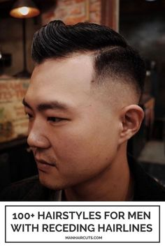 A sleek comb over with a side part is a great hairstyle option for men with receding hairlines. Check out this list and give these new styles a try. #menrecedinghairlines #baldingmenhairstyle #comboverhairstyle #menhairstyle #manhaircuts Combover Hairstyles, Hairstyles For Receding Hairline, Top Hairstyles For Men, Receding Hair Styles, Side Part Hairstyles, Pompadour Hairstyle, Haircuts For Men, High And Tight Fade, Skin Fade Hairstyle