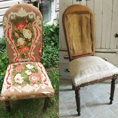 Chair makeover! So cool to find a sugar sack used as the upholstery liner! I will try to wash the musty old fabric and make 1 or 2 pillows with it if I can. Still working on the large set as well Omgosh they have been so much work I enlisted the help of the hubs and we do a little when we can. One day they will be done!  #rusticfarmhouse #myrusticfarmhouse  #rusticfarmhousewares  #rustic #makeover #deconstructedchair #antiquetextiles #antique #upholstery #sugarsack