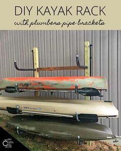 This DIY kayak rack is easy to build in under an hour. With wooden posts and plumbers pipe brackets, the rack goes together in a snap. Diy Kayak Storage Rack, Kayak Rack, Boat Storage, Kayak Holder, Lumber Storage, Diy Storage, Storage Ideas, Kayak Stand, Kayaking Outfit