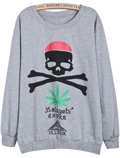 Grey Long Sleeve Skull Print Loose Sweatshirt - Sheinside.com