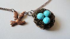 Birds nest pendant , birds charm necklace, turquoise birds nest, handmade jewelry
