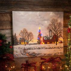 Christmas Barn LED Canvas Art Print   Kirkland's #kirklands #pinitpretty