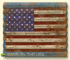 Personalized Corrugated Metal American Flag Sign