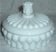 "Vintage Fenton Milk Glass Hobnail Teardrop Candy or Powder Box 6"""