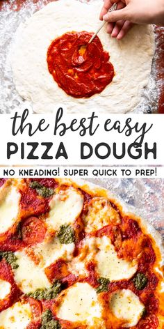 This is the BEST Easy Homemade Pizza Dough. You don't even need to knead it: P. Casserole Recipes, Soup Recipes, Vegetarian Recipes, Dinner Recipes, Healthy Recipes, Pizza Recipes, Baking Recipes, Chicken Recipes, Potato Recipes
