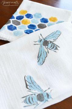 DIY Stenciled Tea Towel