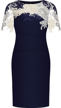 Bodycon Round Neck Short Sleeves dress for mother of the bride, Dark Blue Mother of the Bride Dress with Lace Appliques