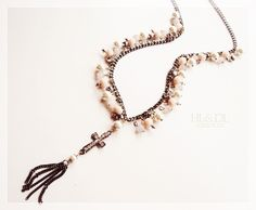 colar#crucifixo#pérolas+cristais #necklaces#cross trend