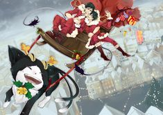 Don't quite know what Rin and Yukio are doing... Is Rin falling off? I just love how kuro's the reindeer