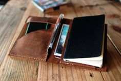 Moleskine cover Agenda leather cover Small by JustWanderlustShop, $136.00 holds Iphone butr not a wallet could be used as one possibly