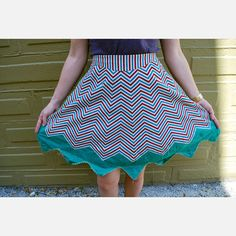Blue And Red Zigzag Apron  by Junk2Funk