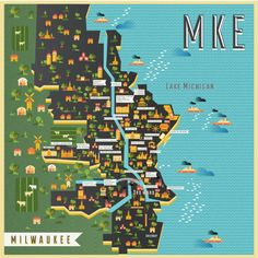 Mapping Milwaukee Art Print by Manuja Waldia . Worldwide shipping available at… Milwaukee Map, Milwaukee Wisconsin, Lake Michigan, Travel Maps, Travel Posters, Framed Art Prints, Canvas Prints, Tourist Map, Map Design