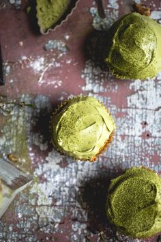 Persimmon Cupcakes with Matcha Frosting | Vegetarian 'Ventures