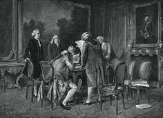 """Signing the Preliminary Treaty of Peace at Paris, November 30, 1782. Print by John D. Morris & Co., based on painting by Carl Wilhelm Anton Seiler. From """"Seals and Symbols in the American Colonies"""" poster (US Diplomacy Center - Library of Congress)"""