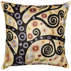 klimt-pillow-yellow-modern-cushion-cover-abstract-gold-embroidered-pillows-sofa-cushions-contemporary-tree-of-life-art-nouveau-silk-1A
