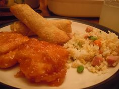 Sweet and Sour Chicken!  I will be making this for tomorrows dinner along with the fried rice I pinned!