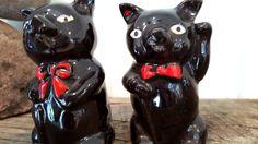 Vintage Black Pigs in Ties Salt & Pepper Shakers Figural Ceramic Shakers Cork Bottom Made In Japan by Pesserae on Etsy