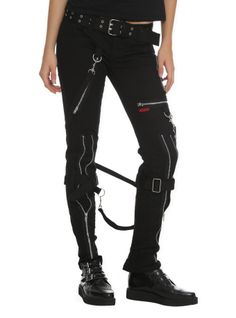 Black+pants+with+silver+tone+grommet+accented+belt,+zippers+and+adjustable+and+removable+straps.