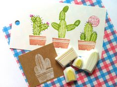 cactus rubber stamp. nature stamp. leaf stamp. por talktothesun, $12.00