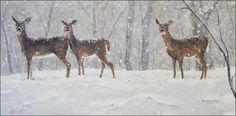 Whitetail deer snow painting by Karl Eric Leitzel