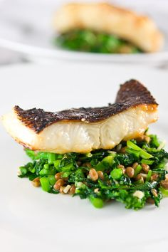 Black Cod with Sweet Miso Glaze. Black Cod with sweet miso glaze on a bed of brocoli rabe and natto. Cod Recipes, Fish Recipes, Seafood Recipes, Asian Recipes, Great Recipes, Cooking Recipes, Favorite Recipes, Healthy Recipes, Asian Foods