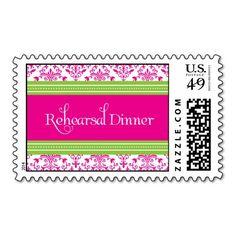 Hot Pink & Green Damask Rehearsal Dinner Stamp