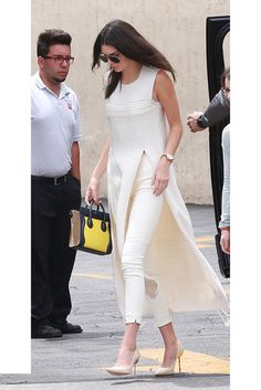 Kendall Jenner style Sophia Webster Coco Pumps, Céline Nano Bag, The Row Stratton Cotton-Blend Leggings, The Row Wellan Woven Silk Tunic