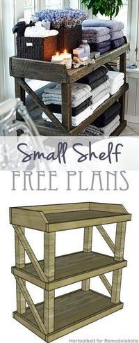Free DIY Plans! Build an easy yet stylish small storage shelf. // Remodelaholic.com