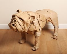 Waste Not Want Not, Cardboard Bulldog Sculpture with Stick by Dominic Gubb at Stockbridge Gallery Cardboard Sculpture, Fish Sculpture, Cardboard Crafts, Sculpture Projects, Art Projects, Paper Clay, Paper Art, Cardboard Animals, Animal Sculptures
