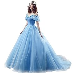 Chupeng Womens Princess Costume Butterfly Off Shoulder Cinderella Prom Dress Long Tulle Quinceanera Ball Gown BU 2 - Quinceanera Dresses - Ideas of Quinceanera Dresses Cinderella Disney, Cinderella Party, Cinderella Quinceanera Dress, Princess Prom Dresses, Prom Dresses Uk, Plus Size Prom Dresses, Quinceanera Dresses, Ball Dresses, Cinderella Gowns