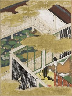 """Spring Shoots II (Wakana: ge), Illustration to Chapter 35 of the """"Tale of Genji"""" (Genji monogatari) by TOSA Mitsunobu,  Paintings"""