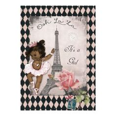 "Ethnic Princess Ballerina Eiffel Tower Baby Shower 5"" X 7"" Invitation Card"