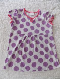 HANNA ANDERSSON Girl's Purple Dots Pink Trim Keyhole White Top 150 9 10 11 12