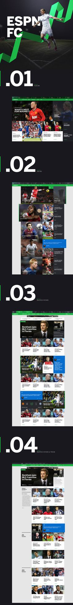 While at Rally Interactive I was the CD/Lead Designer for concepts on the new ESPN FC. Here is an evolution of how it started and where I left off. See the final result from Rally at espnfc.com.