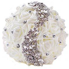 Skue Advanced handmade custom Bride holding flowers PE rose artificial wedding bouquets Rhinestone brooches with ribbon ivory *** Read more reviews of the product by visiting the link on the image.